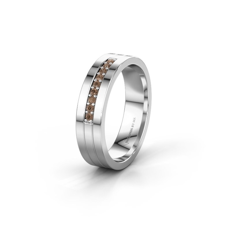 Trouwring WH0413L15AP 950 platina bruine diamant ±5x1.7 mm