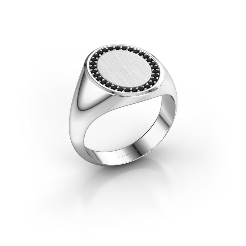 Heren ring Floris Oval 4 950 platina zwarte diamant 0.279 crt