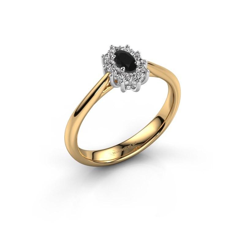 Verlovingsring Leesa 1 585 goud zwarte diamant 0.60 crt