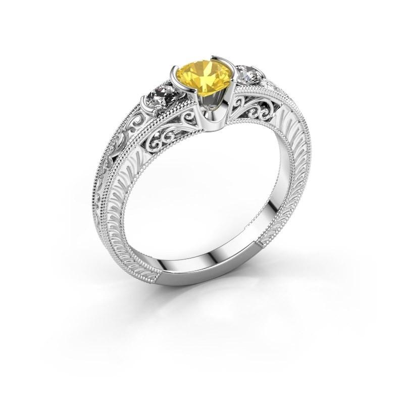 Promise ring Tasia 950 platina gele saffier 5 mm