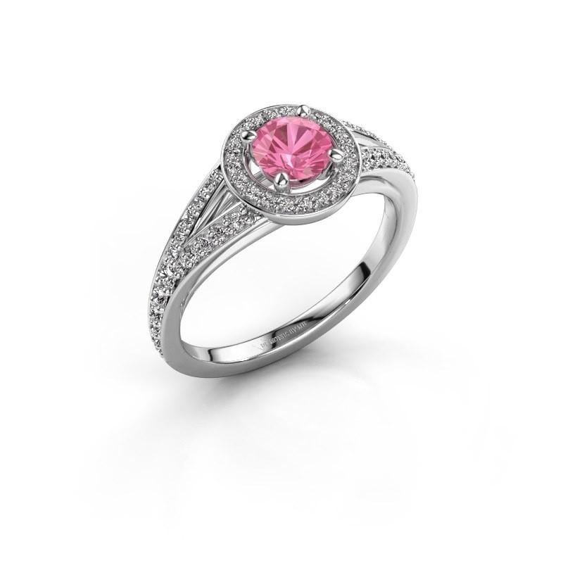 Aanzoeksring Angelita RND 585 witgoud roze saffier 5 mm