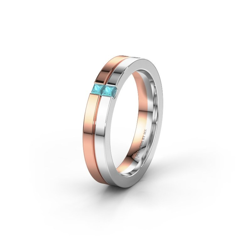 Wedding ring WH0225L14B 585 rose gold blue topaz ±0.16x0.08 in