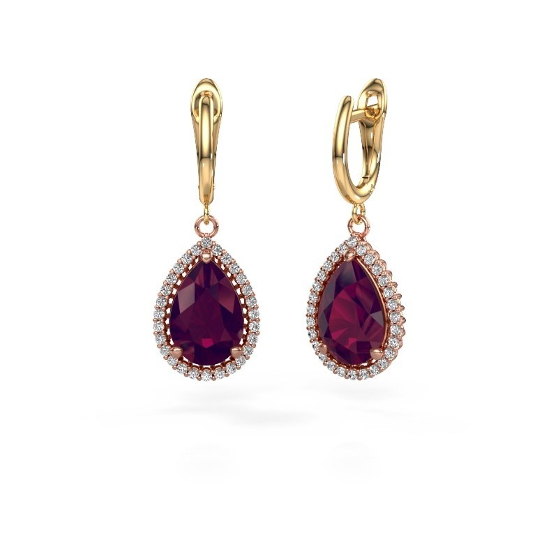 Drop earrings Hana 1 585 rose gold rhodolite 12x8 mm
