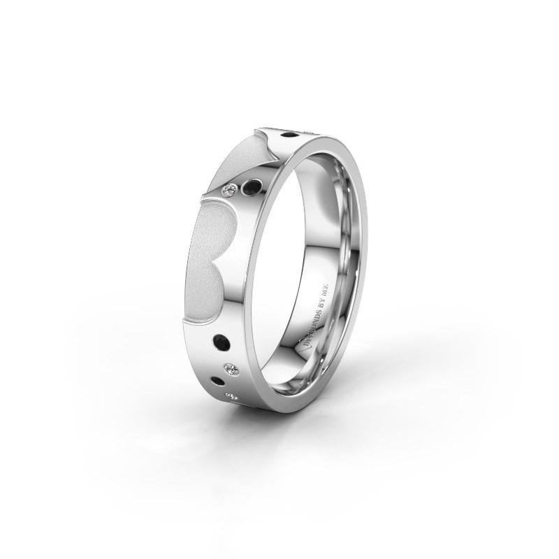 Trouwring WH2114L25A 925 zilver zwarte diamant ±5x1.7 mm