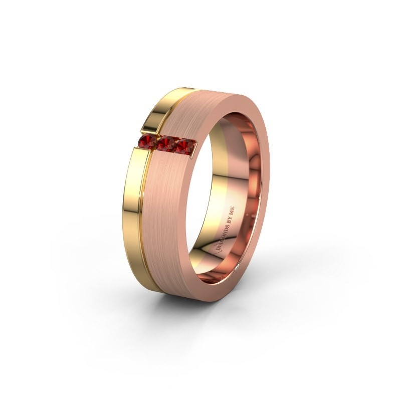 Trouwring WH0327L16B 585 rosé goud granaat ±6x2 mm