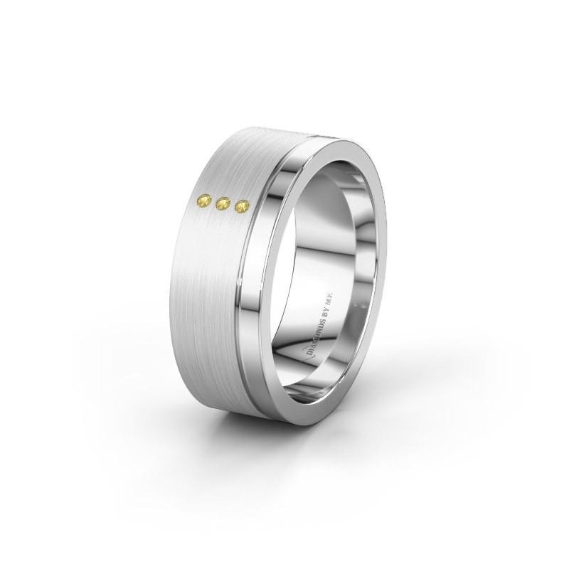 Trouwring WH0325L17APM 925 zilver gele saffier ±7x1.7 mm