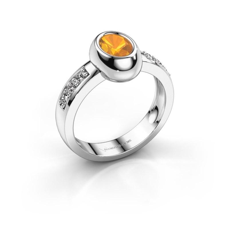 Ring Charlotte Oval 585 Weißgold Citrin 7x5 mm