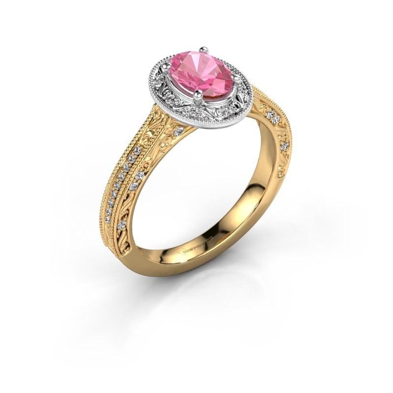 Verlovingsring Alice OVL 585 goud roze saffier 7x5 mm