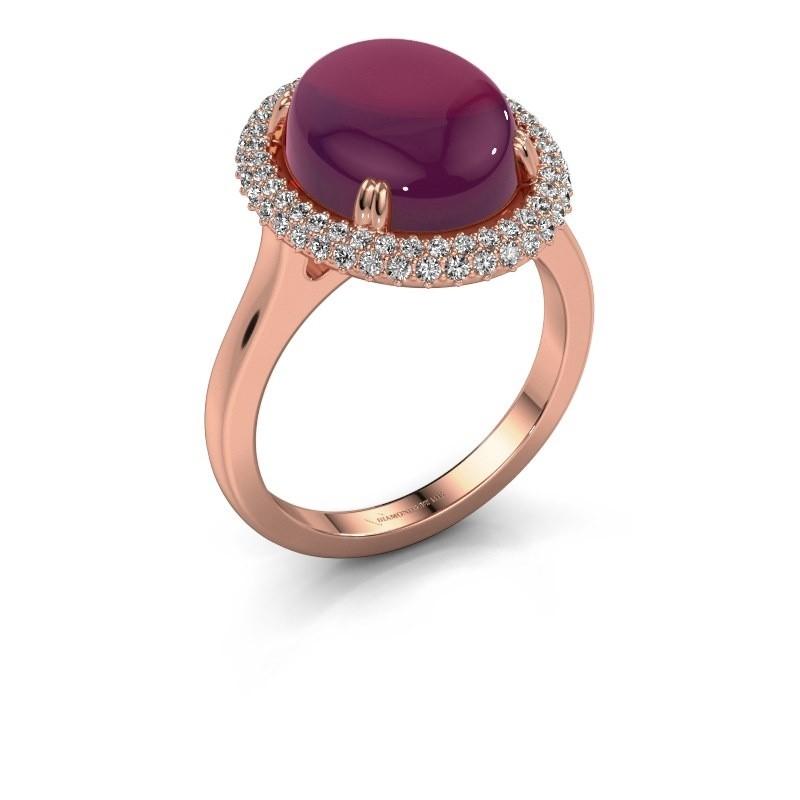 Ring Jayna 375 rosé goud rhodoliet 12x10 mm