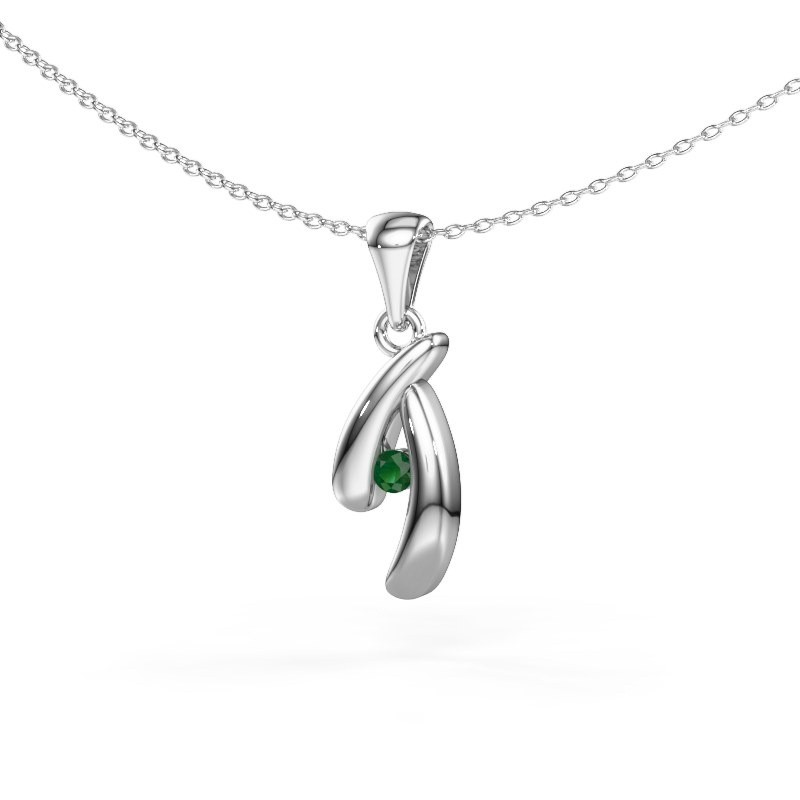 Hanger Jinke 585 witgoud smaragd 2.5 mm