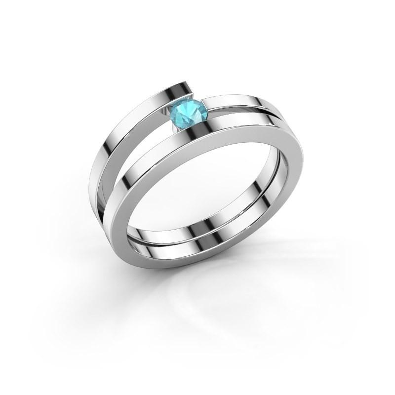 Ring Sandy 585 witgoud blauw topaas 3.4 mm