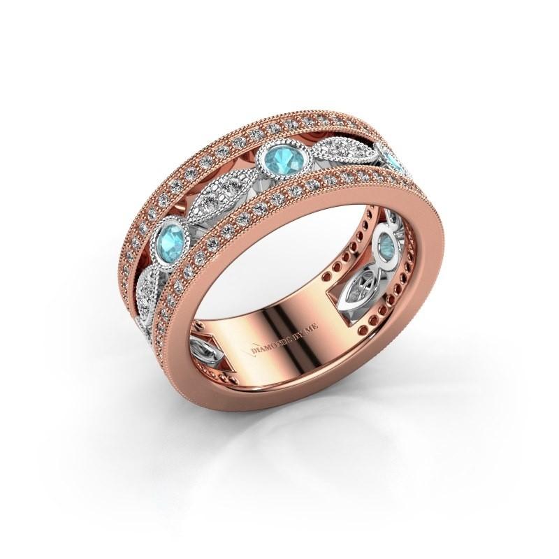 Ring Jessica 585 rosé goud blauw topaas 2.5 mm