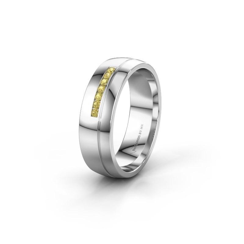 Trouwring WH0308L26AP 925 zilver gele saffier ±6x1.7 mm