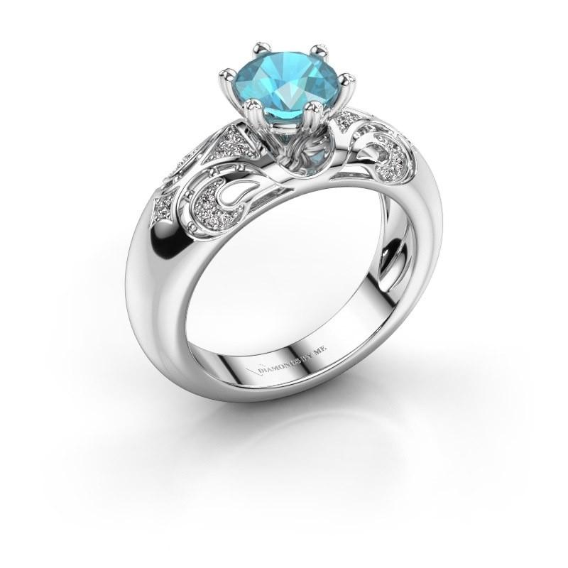 Ring Maya 950 Platin Blau Topas 6.5 mm