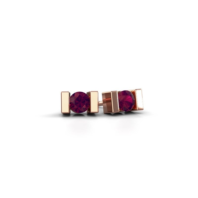 Oorstekers Lieve 375 rosé goud rhodoliet 3.7 mm