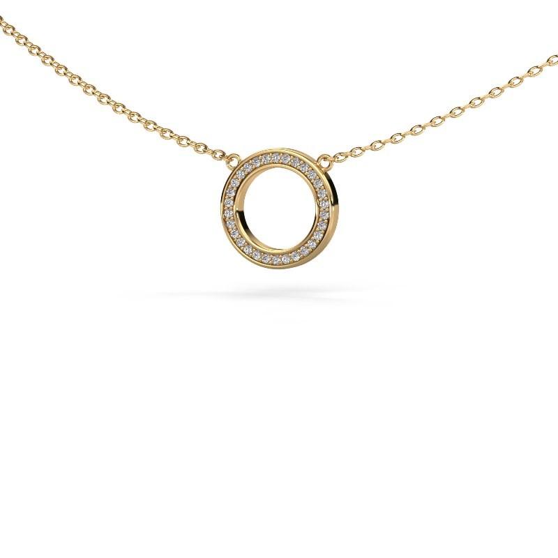 Hanger Round 1 585 goud diamant 0.075 crt