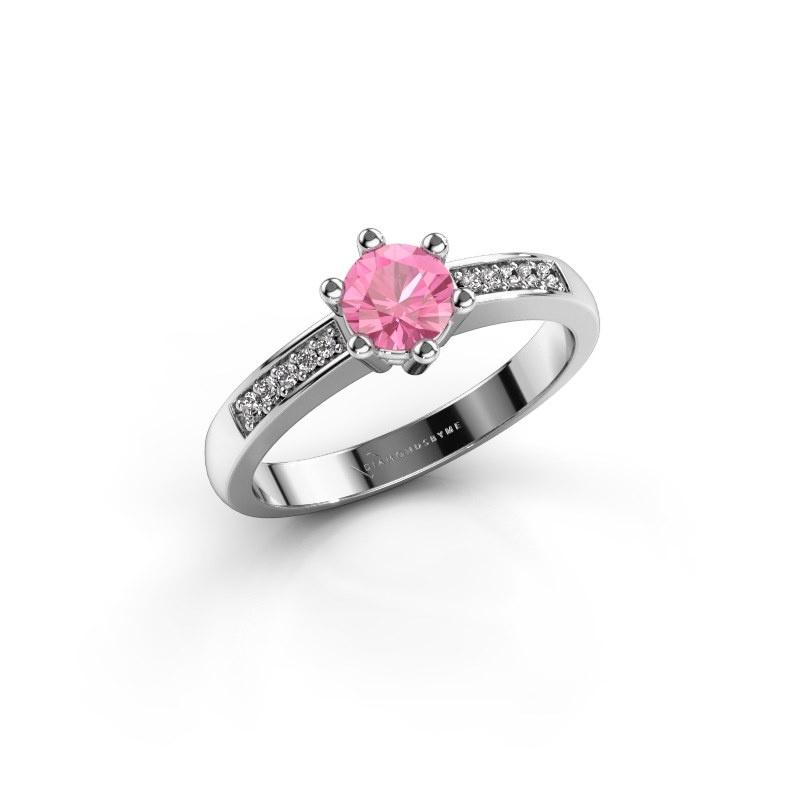 Verlovingsring Luna 2 950 platina roze saffier 5 mm