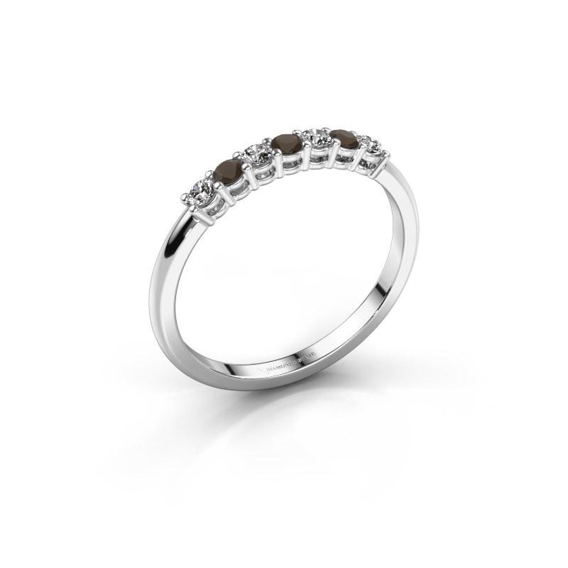 Engagement ring Michelle 7 950 platinum smokey quartz 2 mm