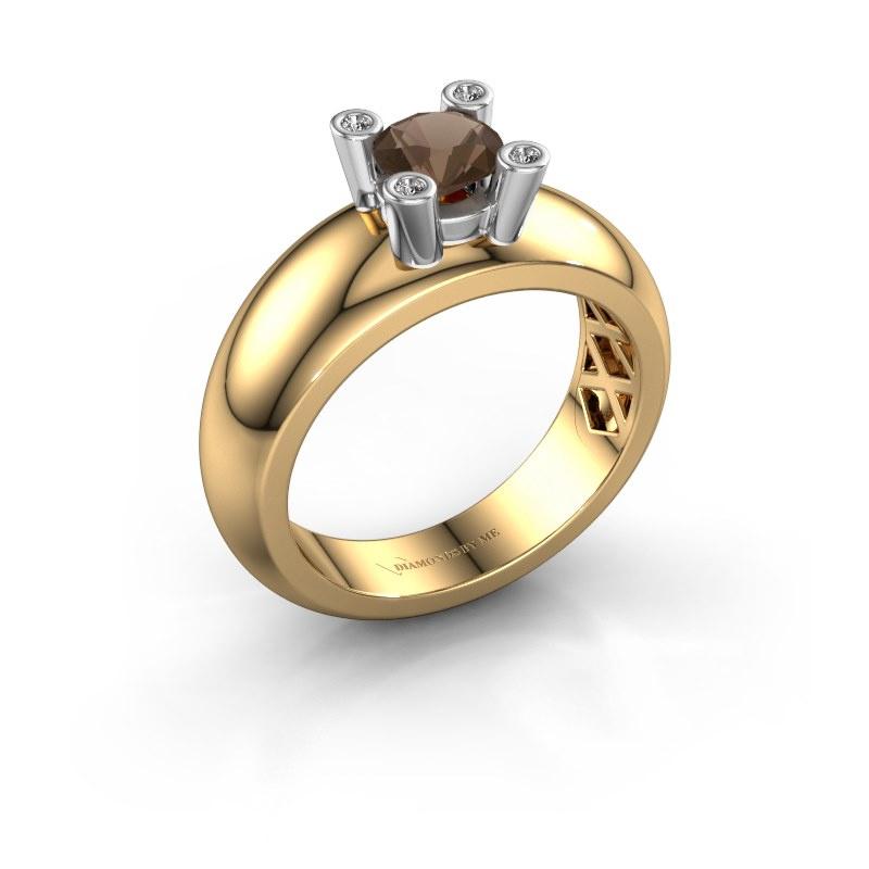 Ring Cornelia Round 585 Gold Rauchquarz 5 mm