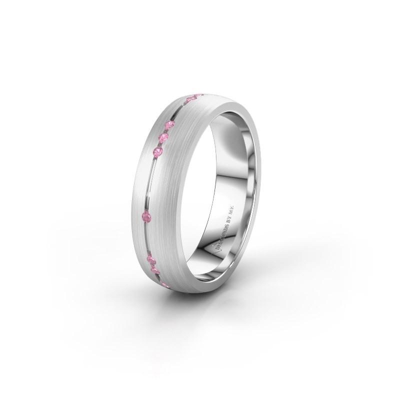 Wedding ring WH0166L25A 950 platinum pink sapphire ±5x1.7 mm