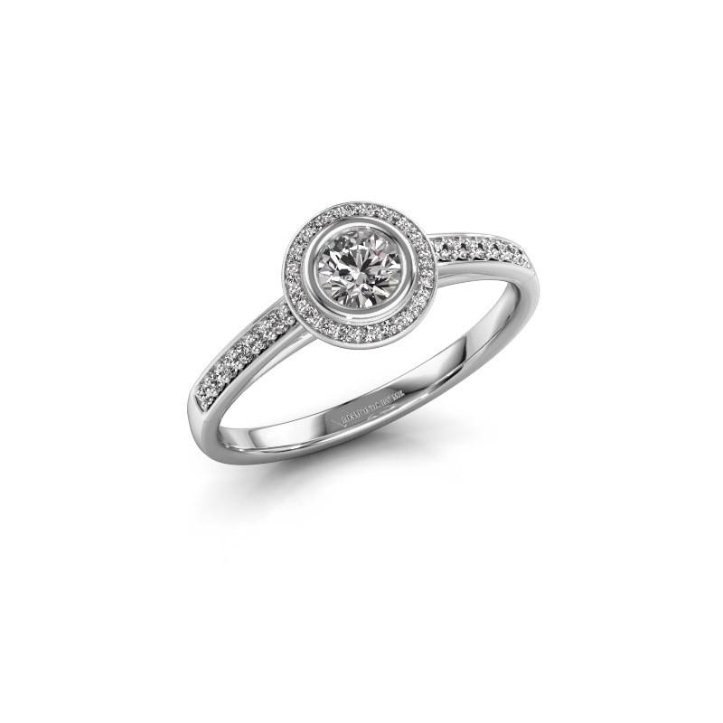 Engagement ring Noud 2 RND 585 white gold lab grown diamond 0.39 crt