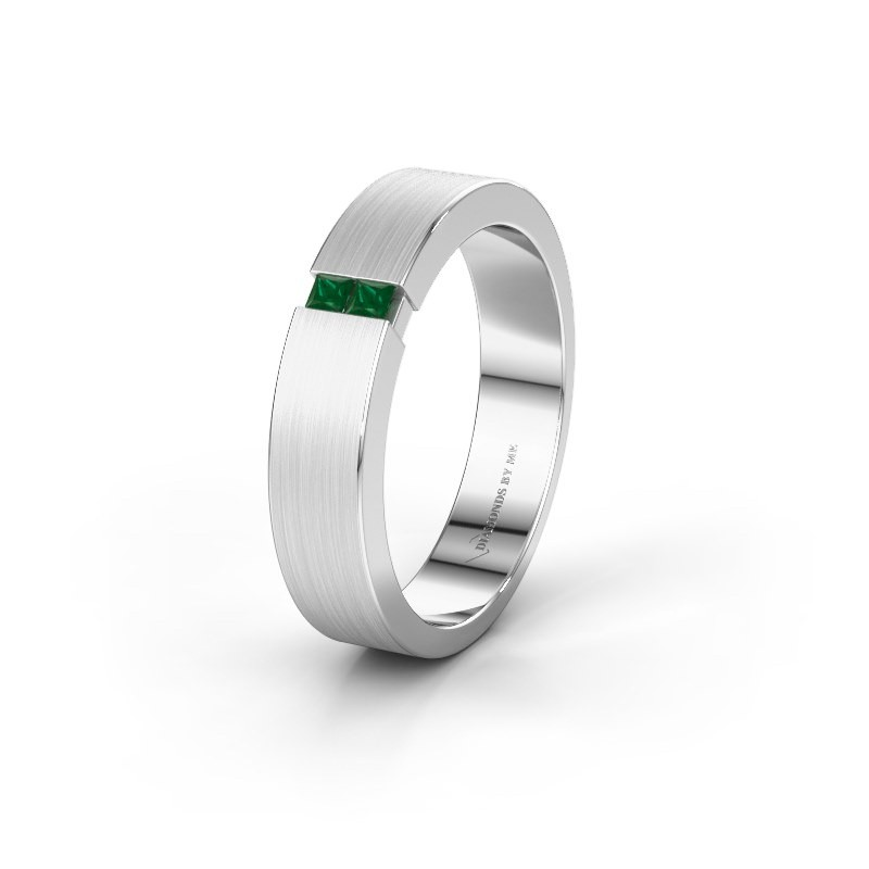 Wedding ring WH2136M15E 585 white gold emerald ±5x2.4 mm