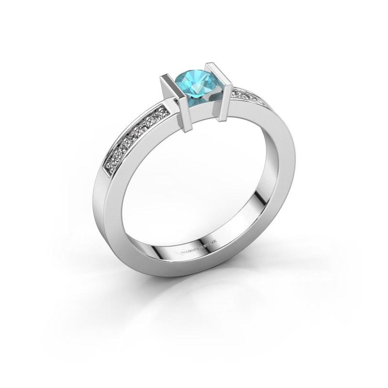 Aanzoeksring Maryam 925 zilver blauw topaas 4 mm