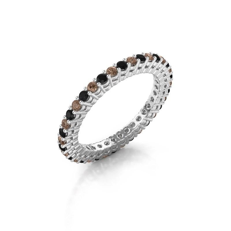 Aanschuifring Rufina 2 925 zilver bruine diamant 0.792 crt