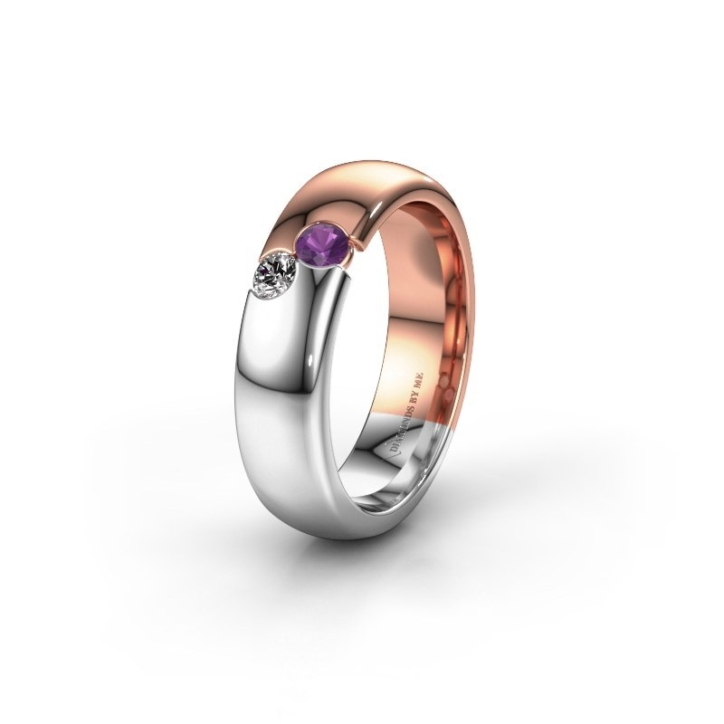 Wedding ring WH1003L26C 585 rose gold amethyst ±6x2.2 mm