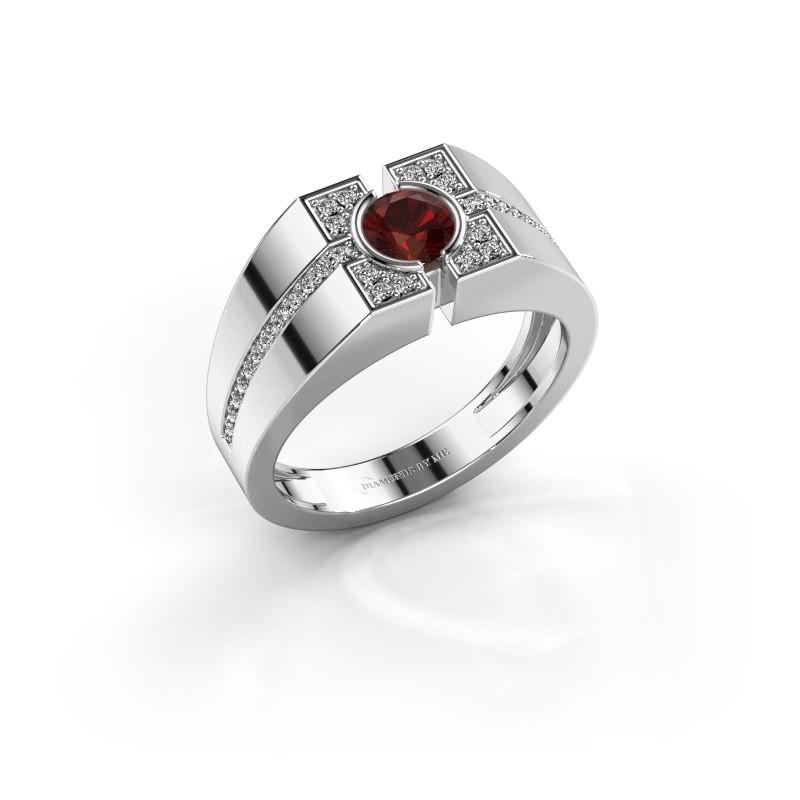 Men's ring Thijmen 950 platinum garnet 5 mm