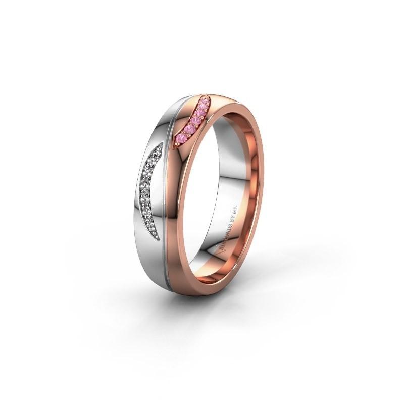 Trouwring WH2118L25A 585 rosé goud roze saffier ±5x1.7 mm