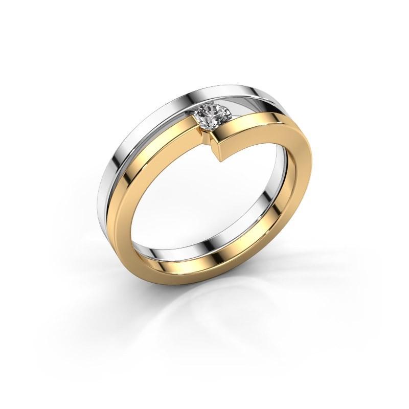 Ring Nikia 585 witgoud lab-grown diamant 0.15 crt