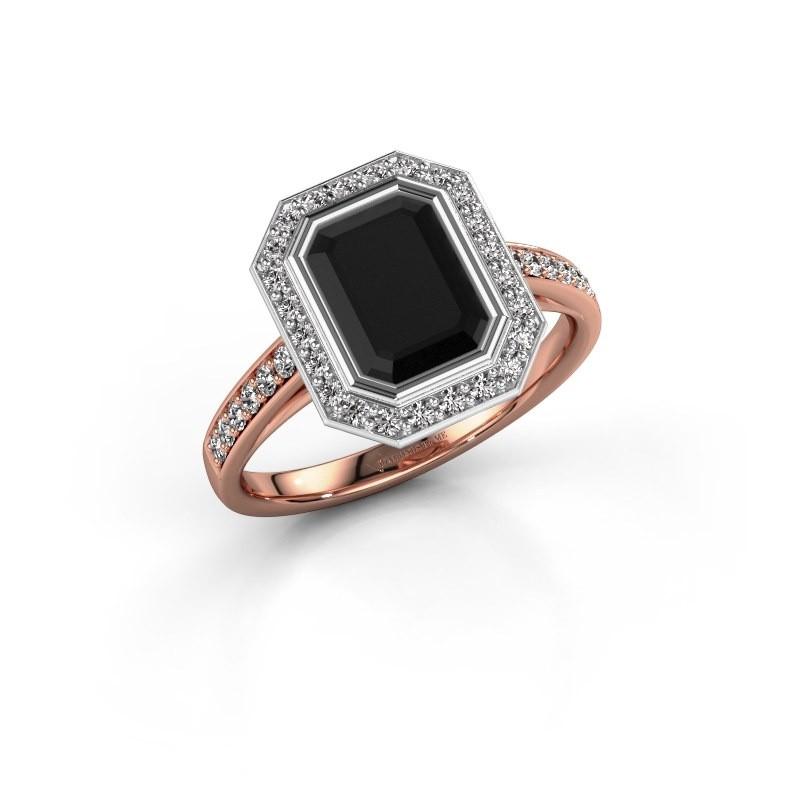 Verlovingsring Noud 2 EME 585 rosé goud zwarte diamant 2.424 crt