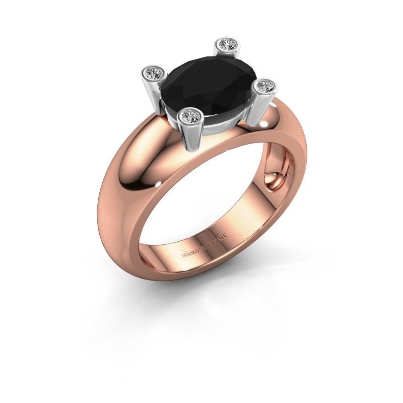 Ring Tamara OVL 585 rosé goud zwarte diamant 2.16 crt