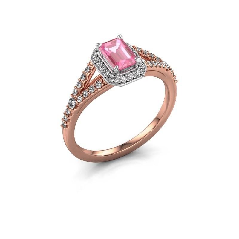 Verlovingsring Pamela EME 585 rosé goud roze saffier 6x4 mm