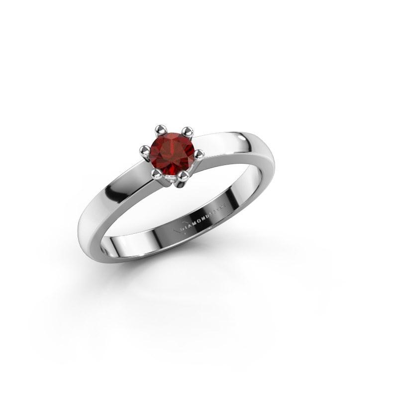 Engagement ring Luna 1 585 white gold garnet 3.7 mm