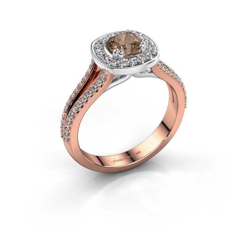 Engagement ring Carolina 2 585 rose gold brown diamond 0.90 crt