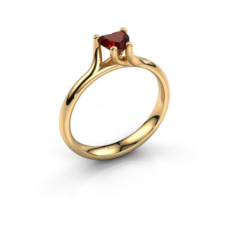 Engagement ring Dewi Heart 585 gold garnet 5 mm