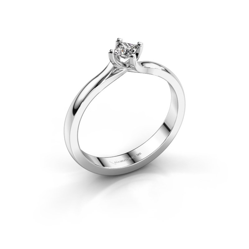 Engagement ring Dewi Square 925 silver diamond 0.17 crt