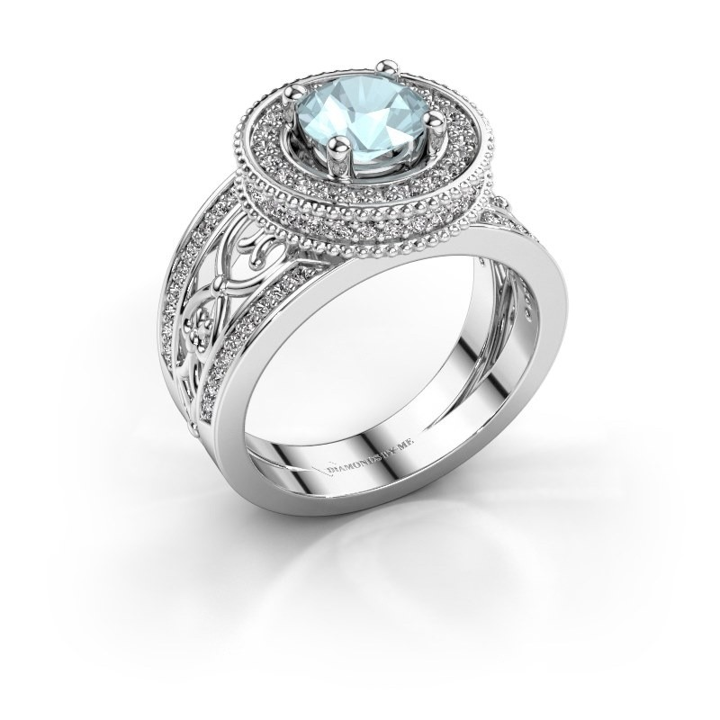 Ring Joy 950 Platin Aquamarin 6.5 mm