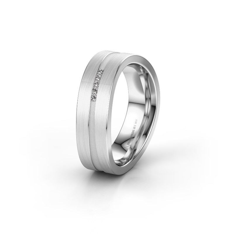 Trouwring WH2019P 585 witgoud diamant ±6x2 mm