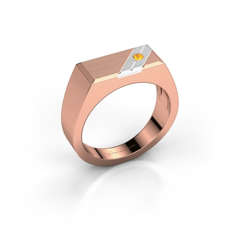 Men's ring Dree 5 585 rose gold citrin 2.4 mm