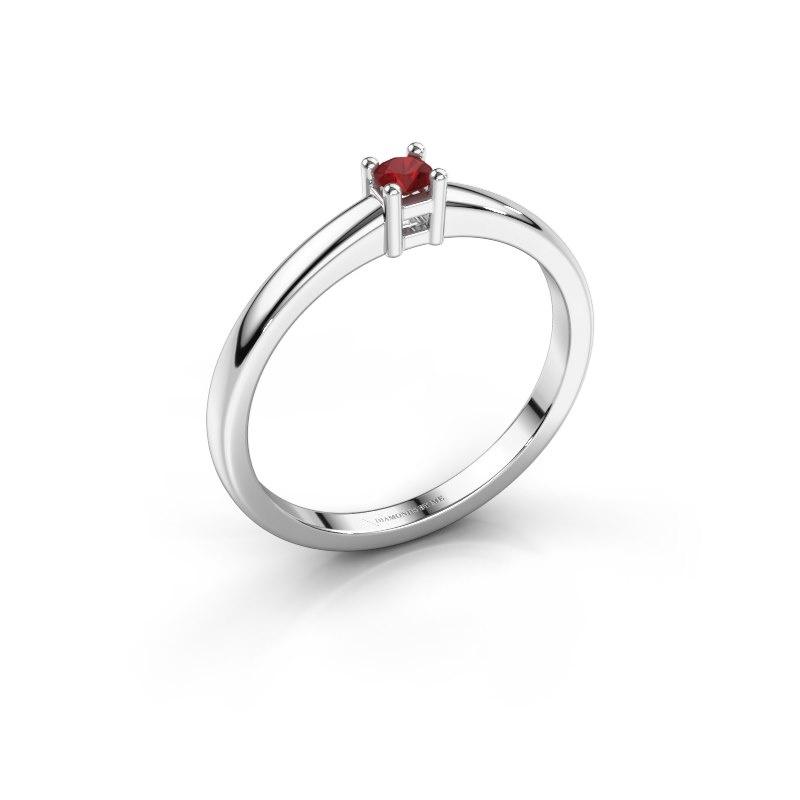 Promise ring Eline 1 585 witgoud robijn 3 mm