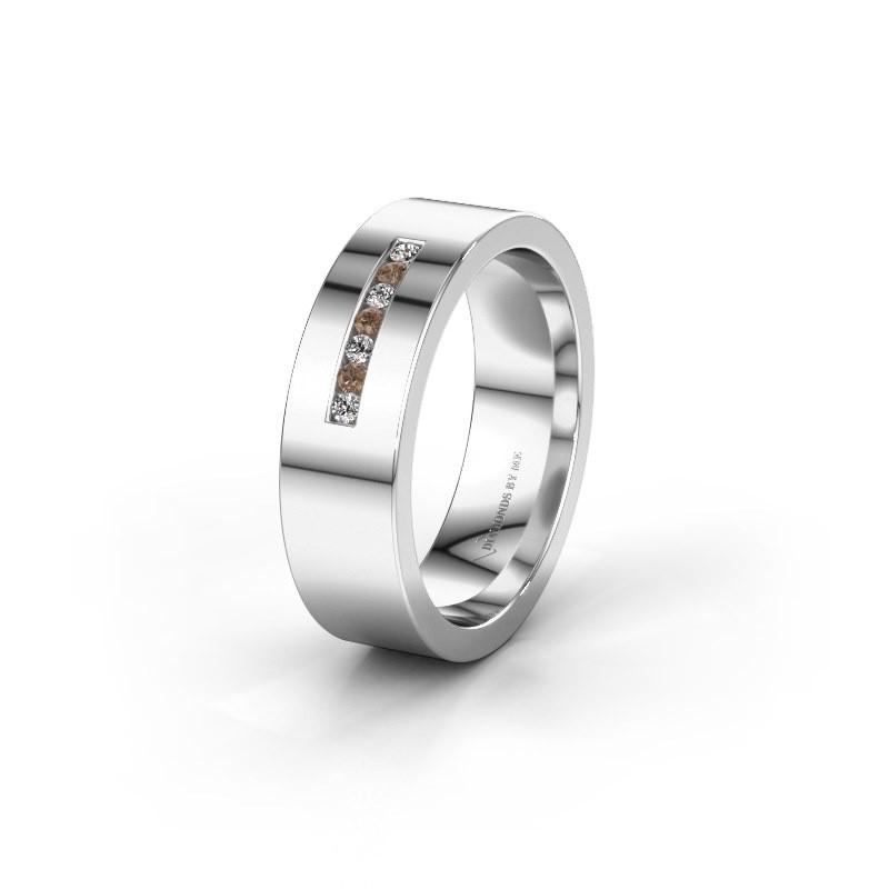 Wedding ring WH0108L16BP 950 platinum brown diamond ±6x2 mm