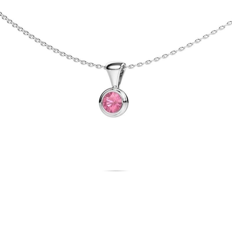Ketting Lieke 925 zilver roze saffier 4 mm