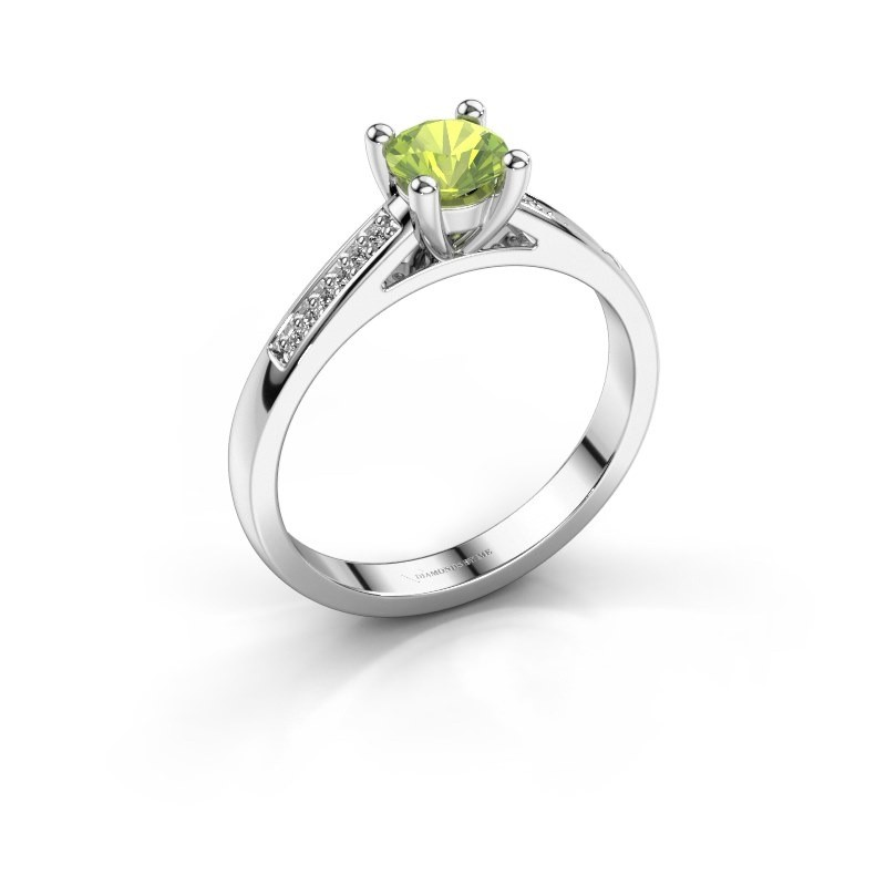 Engagement ring Nynke 950 platinum peridot 4.7 mm