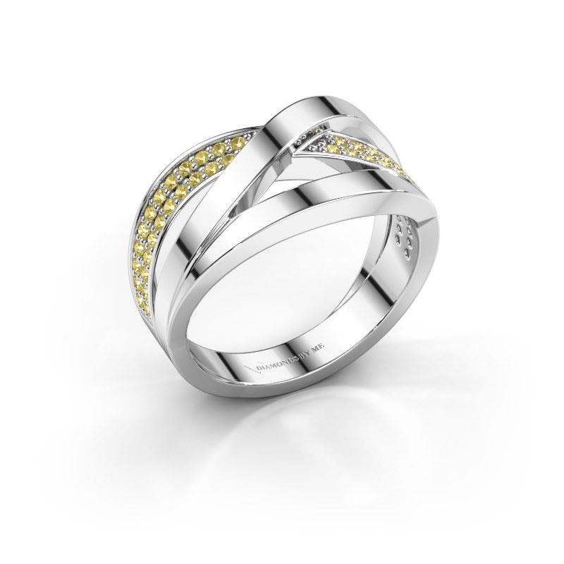Ring Amira 585 white gold yellow sapphire 1.2 mm