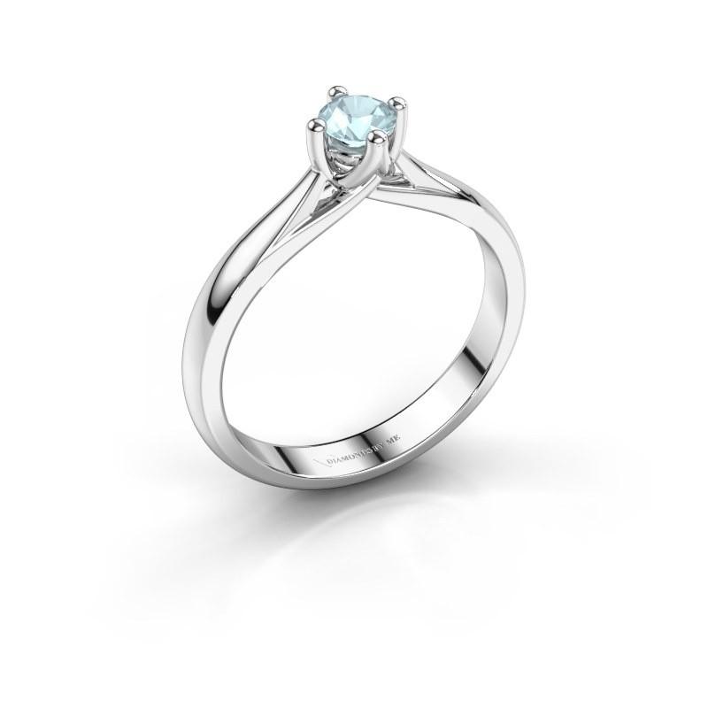 Engagement ring Janne 950 platinum aquamarine 4.2 mm