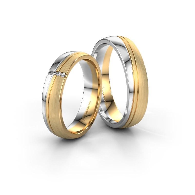 Vriendschapsringen set WH0909LM25XPM ±5x1.5 mm 14 karaat goud diamant 0.008 crt