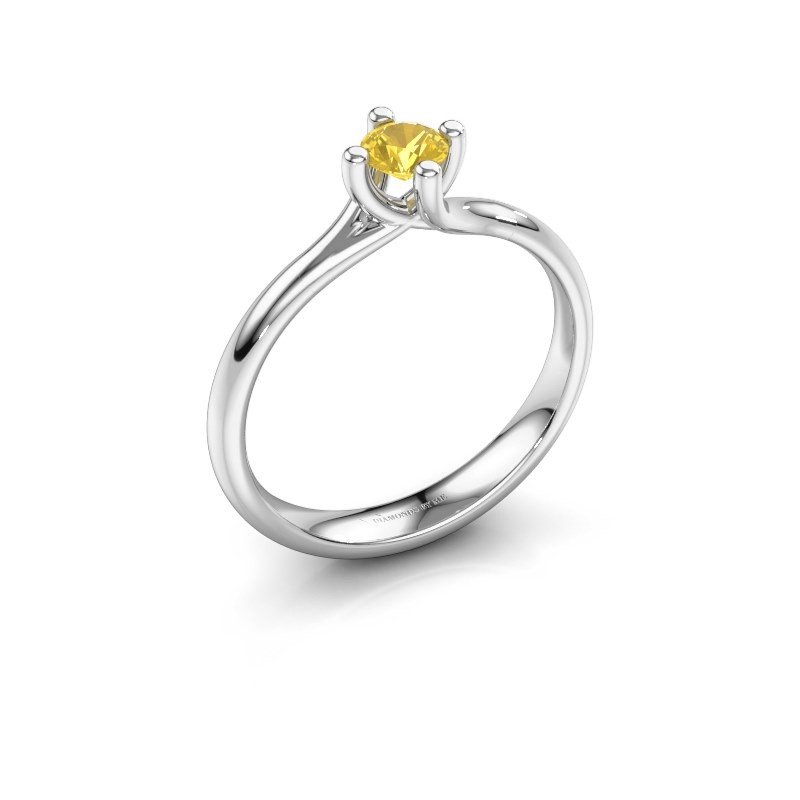 Engagement ring Dewi Round 925 silver yellow sapphire 4 mm